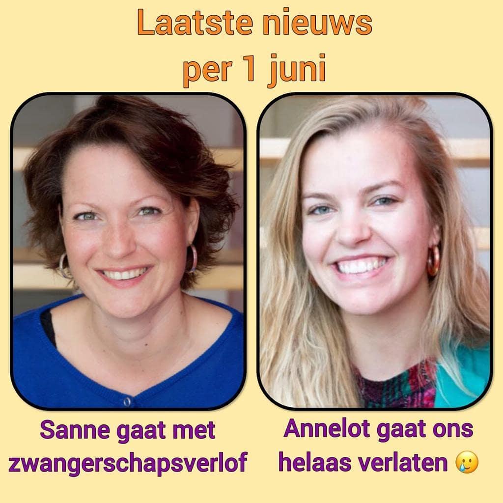 Zwangerschapsverlof Sanne en Annelot gaat ons helaas verlaten